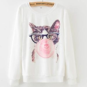 Sweaters - NEW! Marilyn Monroe Bubble Gum Kitty Cat Sweater